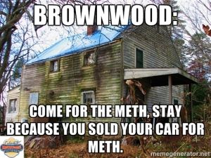 "Zapata admits he stole this joke from another meme, but it's ""even more Brownwood appropriate, especially since the bus doesn't stop here anymore"""