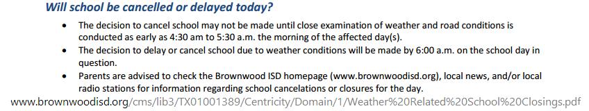 BISD Inclement Weather Procedures